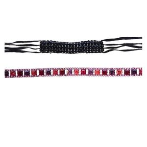 """Jewelry - 2 Chokers. 15"""" Pink and Red Gem. 16"""" Black Beaded."""